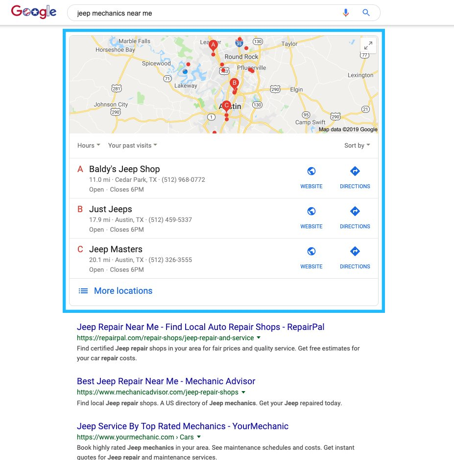 Local SEO search results on Google