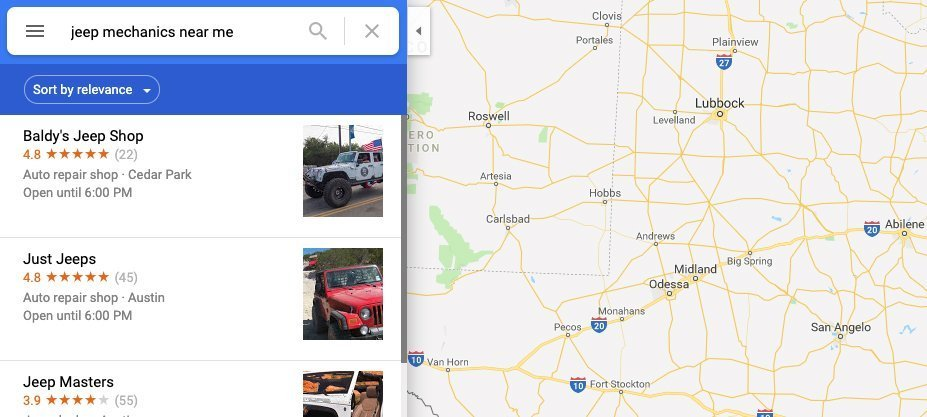 Local SEO search results on Google Maps