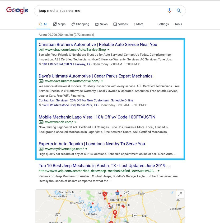 Local SEO ad search results on Google