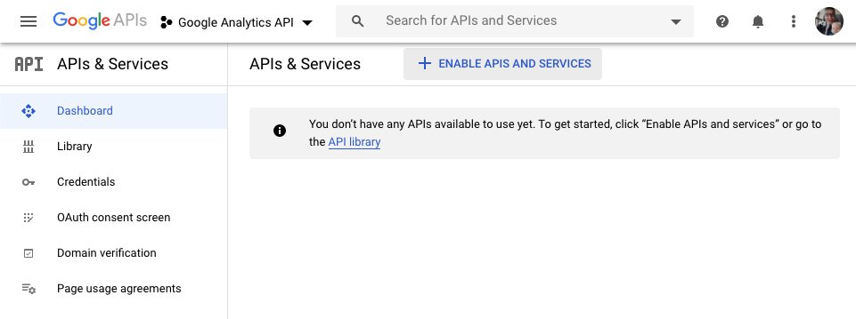 Google Analytics API: Enable the API